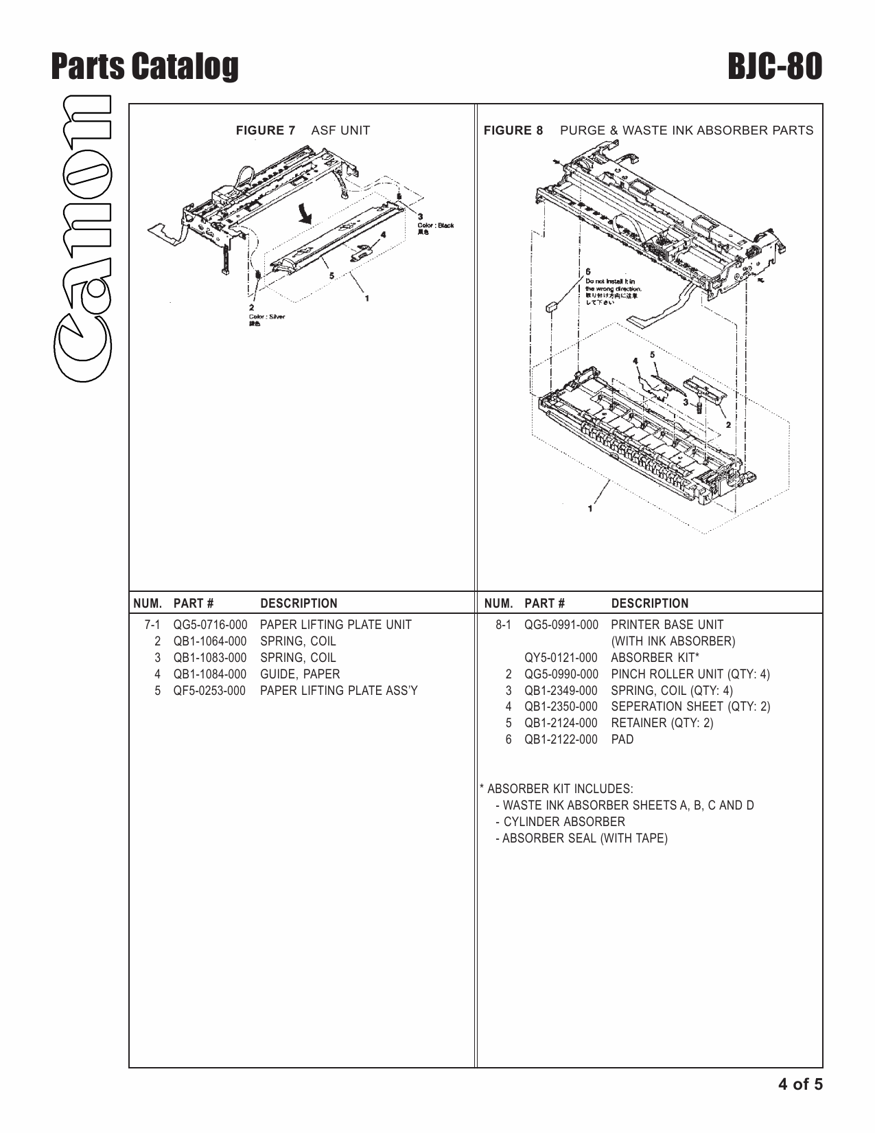Canon BubbleJet BJC-80 Parts Catalog Manual-5